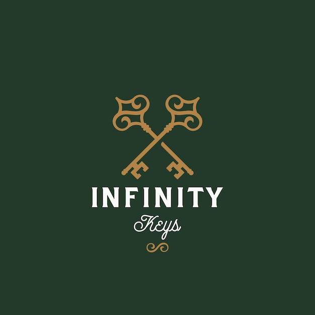 Klucze Nieskończoności. Streszczenie Wektor Znak, Symbol Lub Szablon Logo. Premium Wektorów