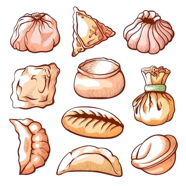 Kluski, Tradycyjne Chińskie Jedzenie Ręcznie Rysowane Zestaw Premium Wektorów