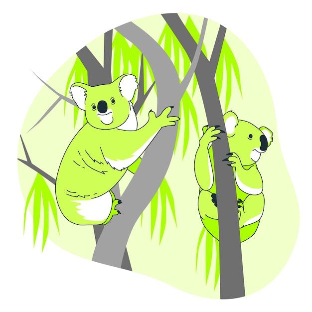 Koale W Drzewach Pojęcia Ilustracja Darmowych Wektorów