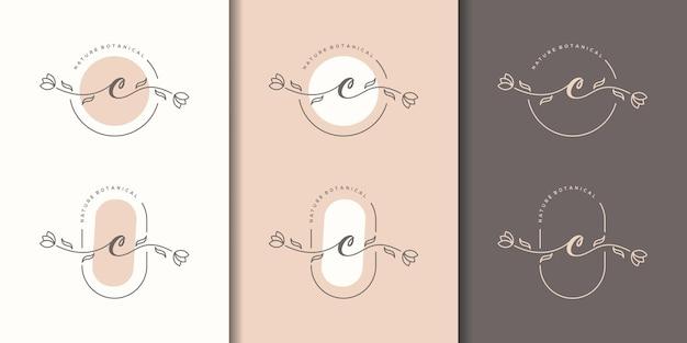 Kobieca Litera Cz Szablonem Logo Kwiatowy Ramki Premium Wektorów