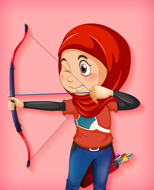 Kobieca Muzułmańska Postać łucznika Darmowych Wektorów