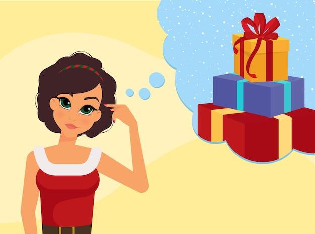 Kobieca Postać Marzy O Nadchodzących Prezentach świątecznych Premium Wektorów