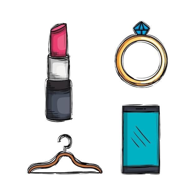 Kobiece akcesoria mody Premium Wektorów