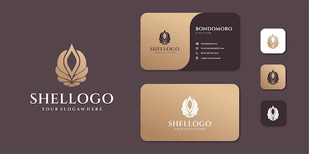 Kobiece Luksusowe Logo Shell Sea Z Wizytówką Premium Wektorów