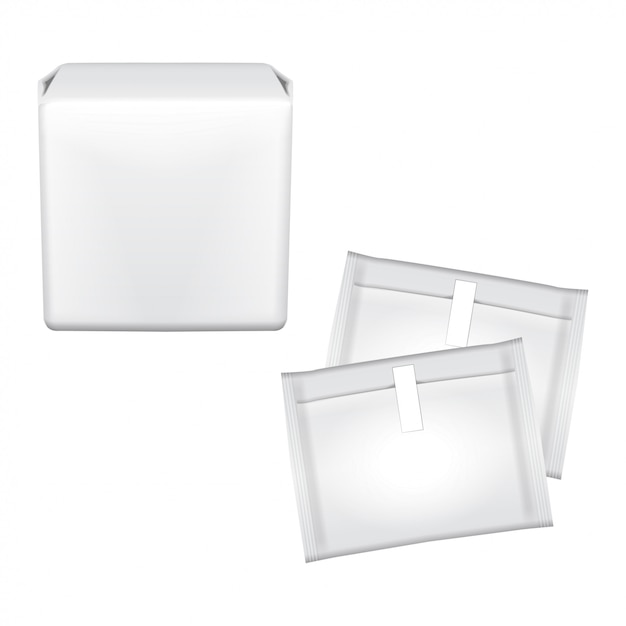 Kobiece Podpaski Higieniczne. Plastikowe Opakowanie Na Podpaski Higieniczne. Podpaski Higieniczne. Opakowanie Na Białym Tle. Dni Miesiączki Premium Wektorów