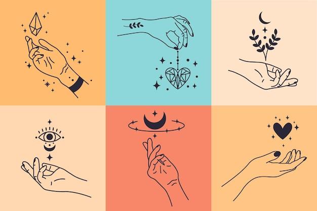 Kobiece Ręce. Ręcznie Rysowane Minimalne Gesty Dłoni. Kobiece Ramiona Z Ilustracji Wektorowych Kryształu, Serca I Kwiatu Premium Wektorów