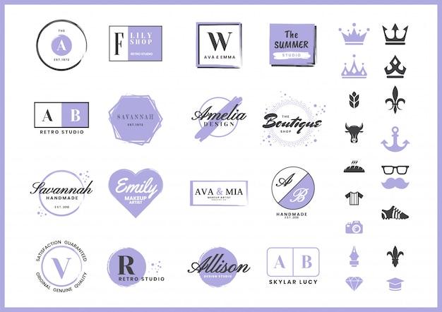 Kobiece retro logo na baner Premium Wektorów
