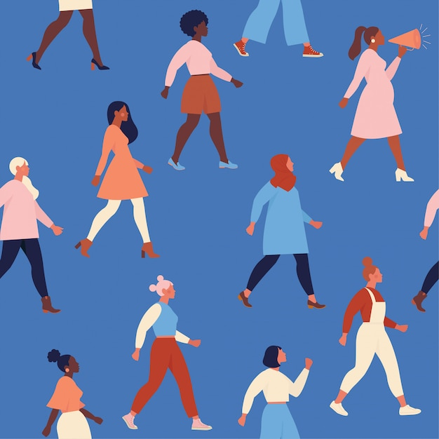 Kobiece Różnorodne Twarze O Różnym Pochodzeniu Etnicznym Wzór Wzór Ruchu Inicjacji Kobiet. Międzynarodowy Dzień Kobiet . Premium Wektorów