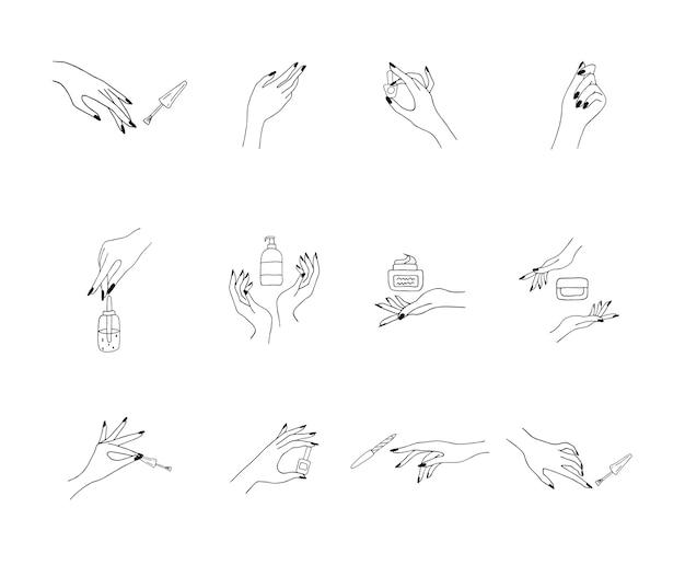 Kobiece Wypielęgnowane Dłonie. Pani Malowanie, Polerowanie Paznokci. Premium Wektorów