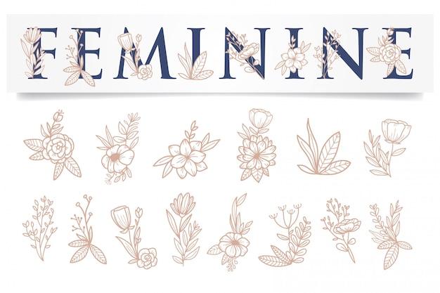 Kobiecy kwiat różowe złoto szablon Premium Wektorów