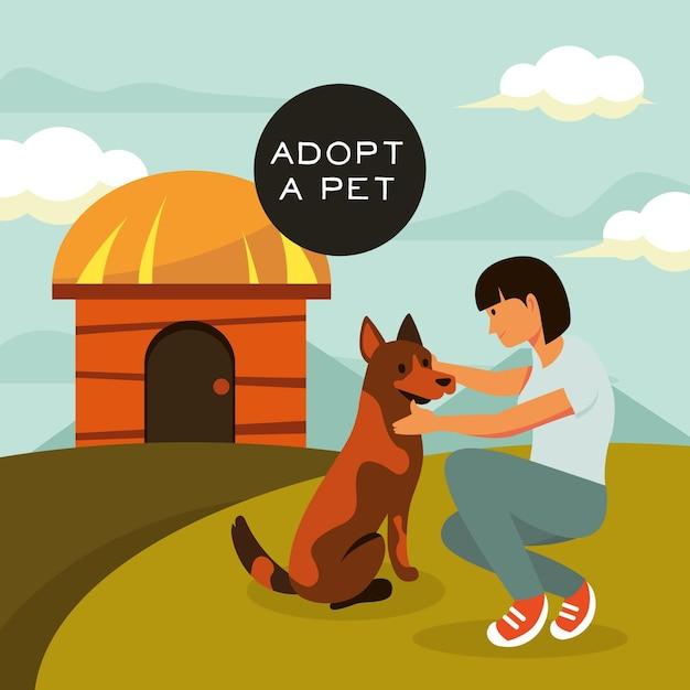 Kobieta Adoptuje Dużego Psa Darmowych Wektorów