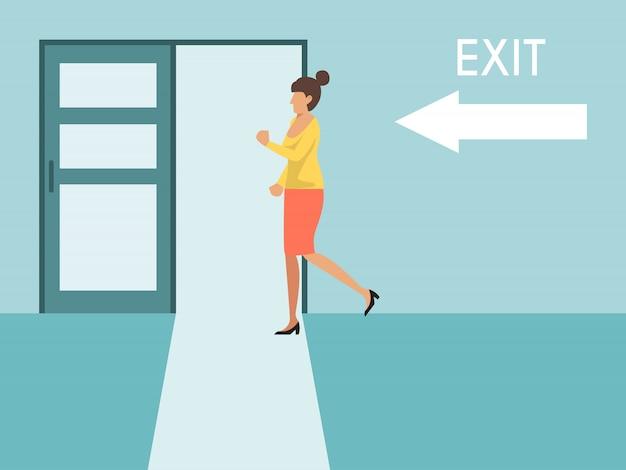 Kobieta Biegnie Do Wyjścia. Biznesowa Kobieta Biega Wyjścia Drzwi Znaka. Dziewczyna Ucieka Z Biura Premium Wektorów