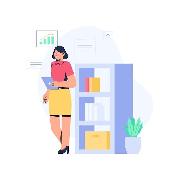 Kobieta Biurowa Stojąca I Przeglądająca Dane Premium Wektorów