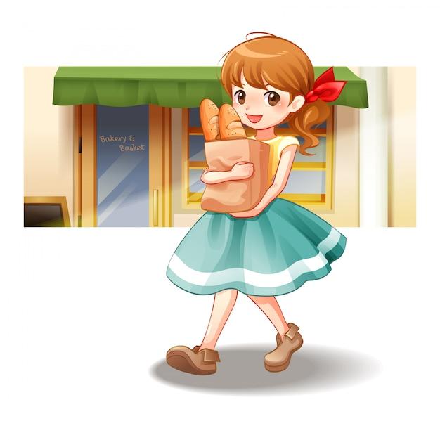 Kobieta chodzi niesie torbę chleb, wektorowa ilustracja Premium Wektorów