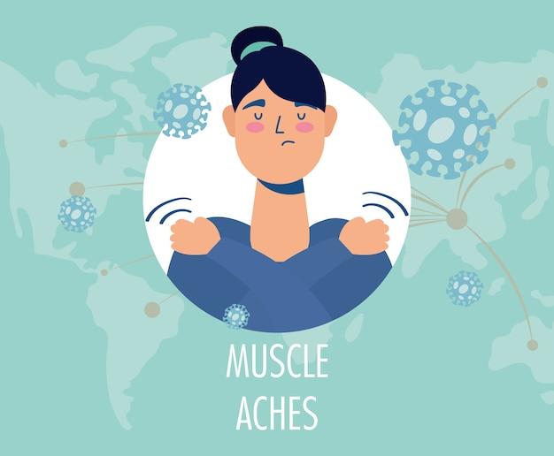 Kobieta Chora Na Bóle Mięśni O Charakterze Objawowym Premium Wektorów
