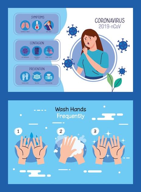 Kobieta Chora Z Infografiki Covid19 Darmowych Wektorów