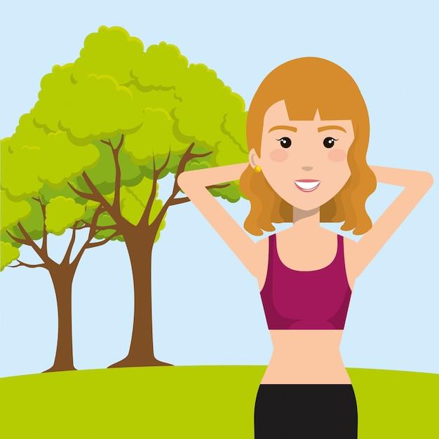 Kobieta ćwiczy W Polu Darmowych Wektorów
