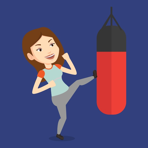 Kobieta ćwiczy Z Worek Treningowy. Premium Wektorów