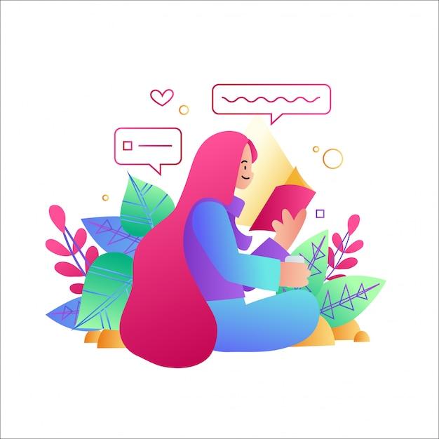 Kobieta Czyta Książkę, Kobieta Siedząca Przy Użyciu Telefonu Komórkowego Premium Wektorów
