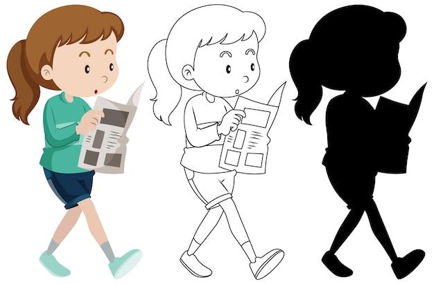 Kobieta Czytająca Gazetę W Kolorze, Zarysie I Sylwetce Darmowych Wektorów