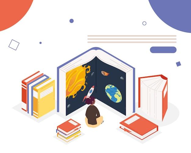 Kobieta Czytająca Książki Z Biblioteki Wszechświata, Projekt Ilustracji Obchodów Dnia Książki Premium Wektorów