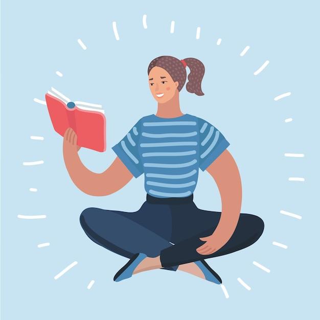 Kobieta Czytająca Podręcznik Ikona Ilustracja Premium Wektorów