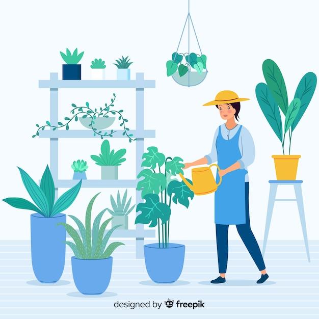 Kobieta dbająca o rośliny Darmowych Wektorów