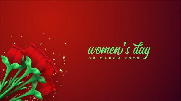 Kobieta Dnia Sztandar Z 3d Czerwieni Róży Ilustracją. Premium Wektorów