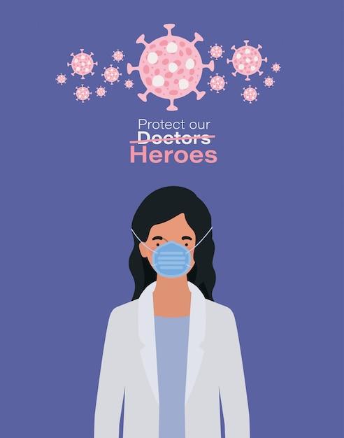 Kobieta Doktor Bohater Z Jednolitą Maską I Wirusem Ncov 2019 Premium Wektorów