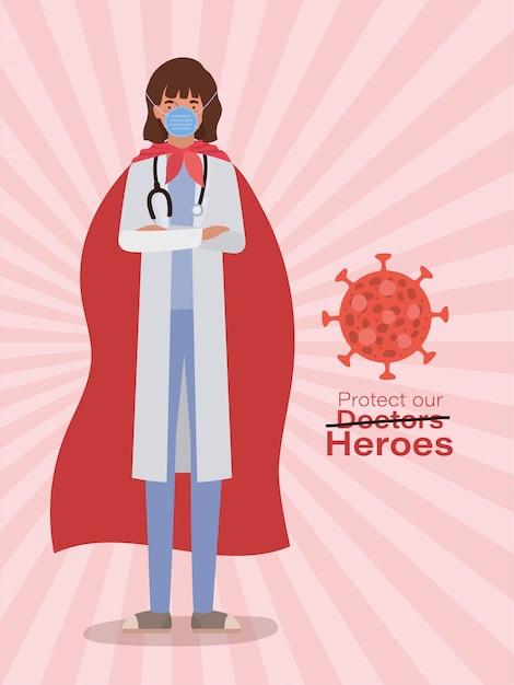 Kobieta Doktor Bohater Z Peleryną Przeciwko Projektowi Wirusa Ncov 2019 Zakażenia Covid 19 Cov Objawy Choroby Wieńcowej Epidemia I Ilustracja Tematu Medycznego Premium Wektorów