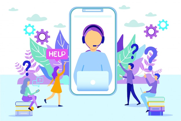 Kobieta Doradztwo Ludzie Rozmowa Telefoniczna Helpdesk Premium Wektorów