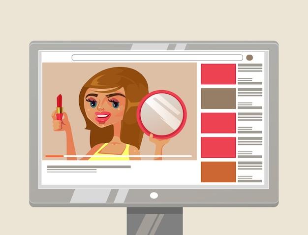 Kobieta Dziewczyna Osoba Youtuber Beauty Blogger Postać Pokazująca I Ucząca Makijażu Szminką I Lustrem. Koncepcja Samouczka Wideo Z Treścią Kanału Internetowego Blogu Premium Wektorów