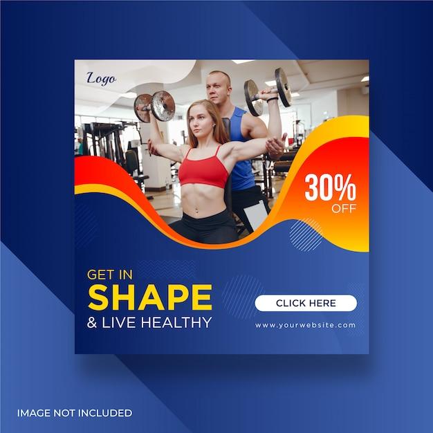 Kobieta Fitness Siłownia Banery Społecznościowe Premium Wektorów