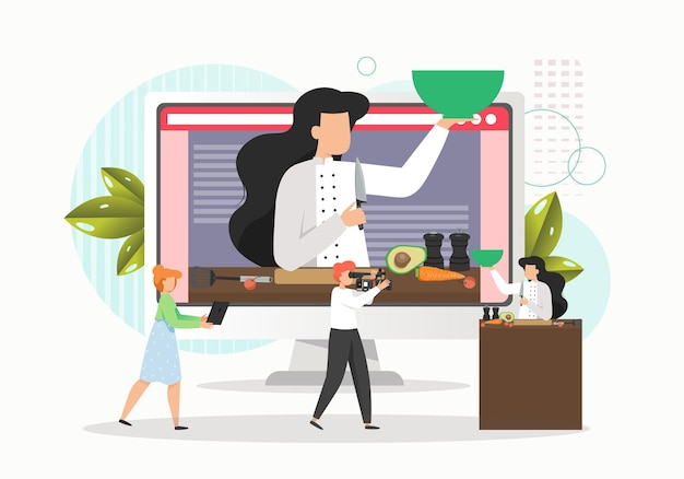 Kobieta Gotowania Potraw W Studio I Kamerzysta Nagrywania Wideo Premium Wektorów