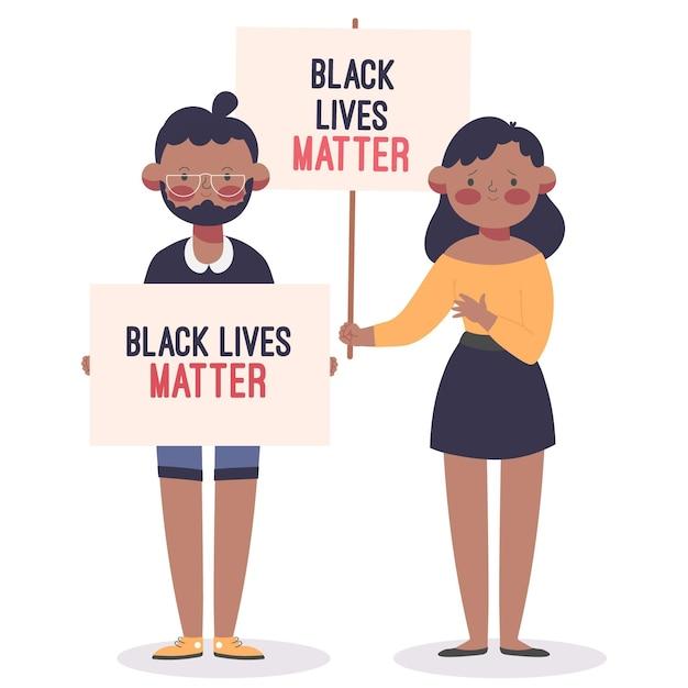 Kobieta I Mężczyzna Biorący Udział W Czarnym życiu Protestują Darmowych Wektorów