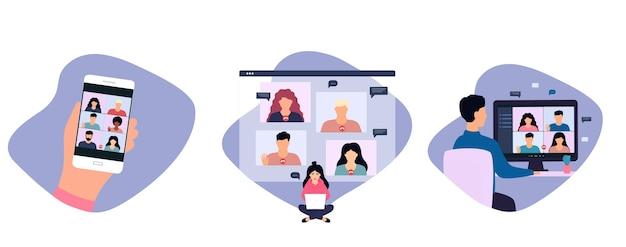 Kobieta I Mężczyzna Prowadzący Rozmowę Wideo Ze Współpracownikiem, Pracujący Zdalnie Online Z Domu. Premium Wektorów