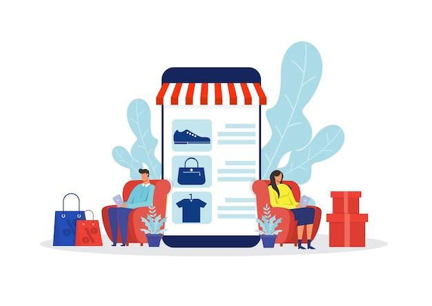 Kobieta I Mężczyzna Sklep Internetowy, Promocyjny Zakup Ilustracji Marketingowej Premium Wektorów