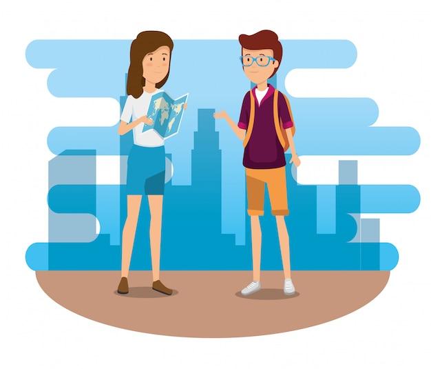 Kobieta I Mężczyzna Z Globalnej Mapy I Plecak Darmowych Wektorów