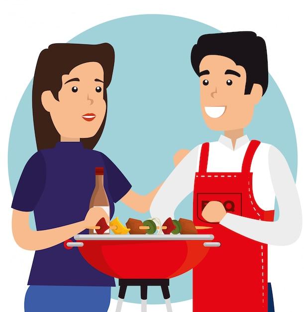 Kobieta i mężczyzna z kiełbasami w grillu Darmowych Wektorów