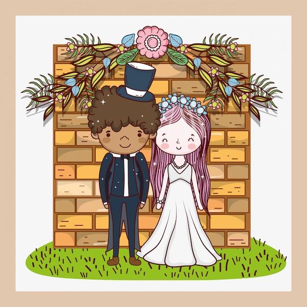 Kobieta i mężczyzna z kwiatami zasadza liście Premium Wektorów