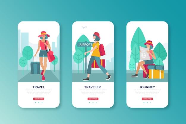 Kobieta Idzie Na Lotnisko Interfejs Mobilny Projekt Darmowych Wektorów