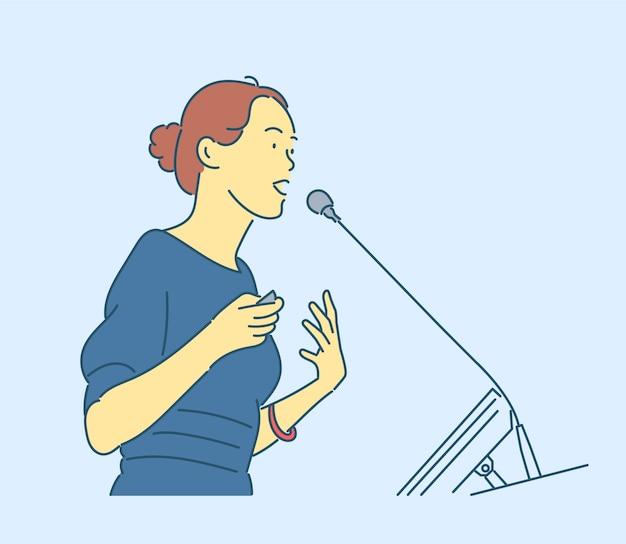 Kobieta Interesu Wyciągnąć Rękę Premium Wektorów