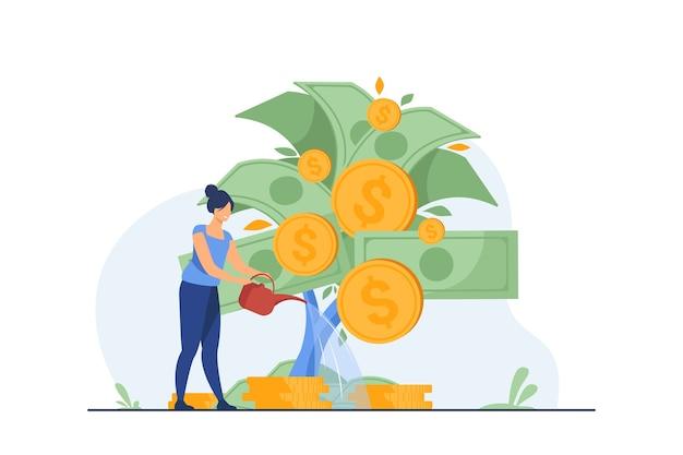 Kobieta Inwestuje I Uzyskuje Zysk. Darmowych Wektorów