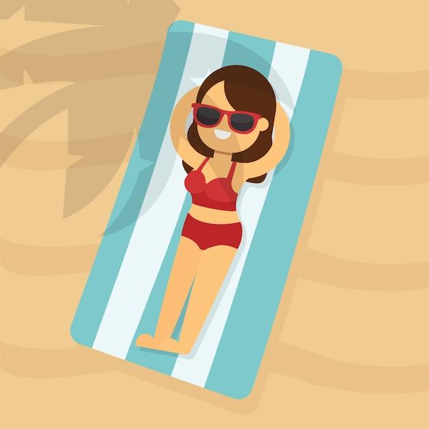 Kobieta iść podróżować w wakacje letni, młoda kobieta w czerwonym toples bikini lying on the beach na plażowym ręczniku pod drzewkiem palmowym Premium Wektorów