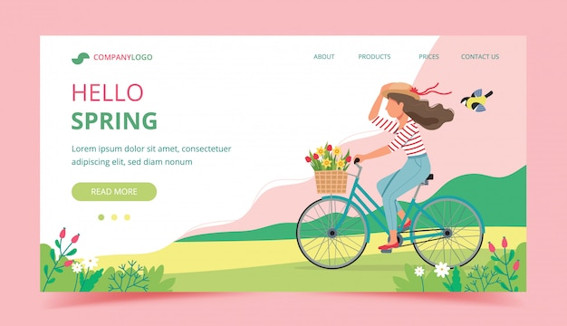 Kobieta Jedzie Rower Na Wiosnę Z Kwiatami W Koszu. Premium Wektorów