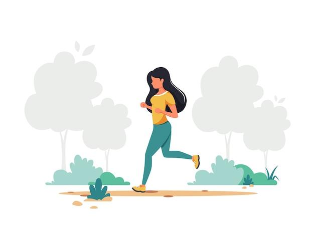 Kobieta Jogging W Parku. Zdrowy Styl życia, Sport, Koncepcja Aktywności Na świeżym Powietrzu. Premium Wektorów