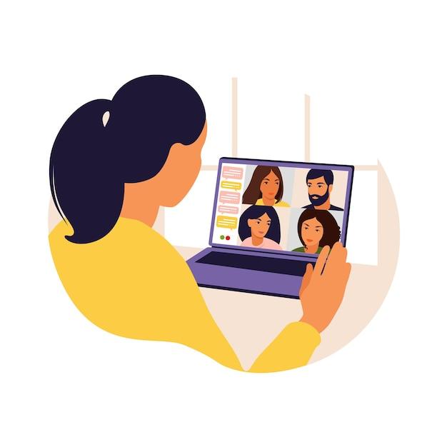 Kobieta Korzystająca Z Komputera Do Zbiorowego Wirtualnego Spotkania I Grupowej Wideokonferencji. Mężczyzna Na Pulpicie Rozmawiający Z Przyjaciółmi W Internecie. Wideokonferencja, Praca Zdalna, Koncepcja Technologii. Premium Wektorów