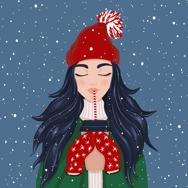 Kobieta Korzystających Z Padającego śniegu Przy Filiżance Kawy Premium Wektorów