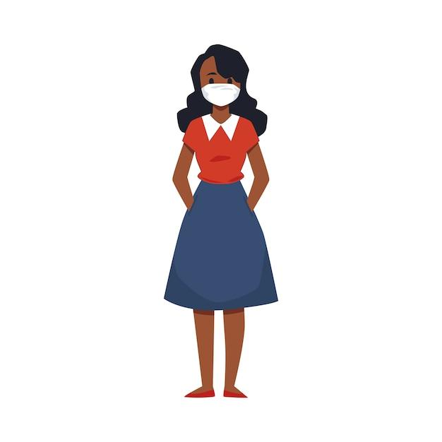Kobieta Kreskówka Noszenie Maski Medycznej W Celu Ochrony Przed Wirusami Premium Wektorów