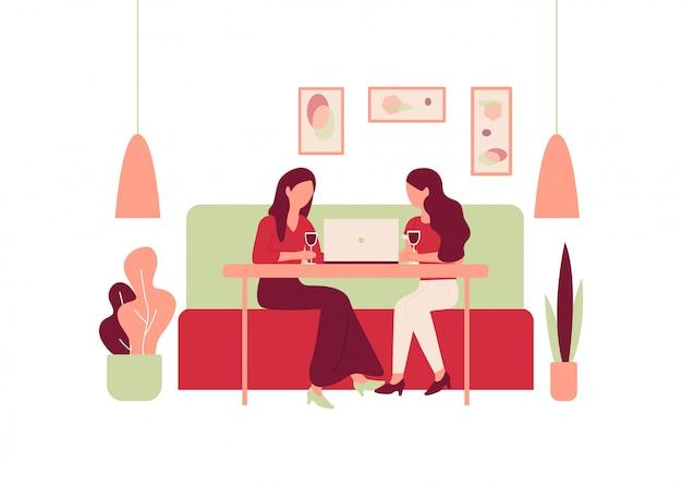 Kobieta Kreskówka Sit Sofa Restauracja Table Drink Wine Premium Wektorów